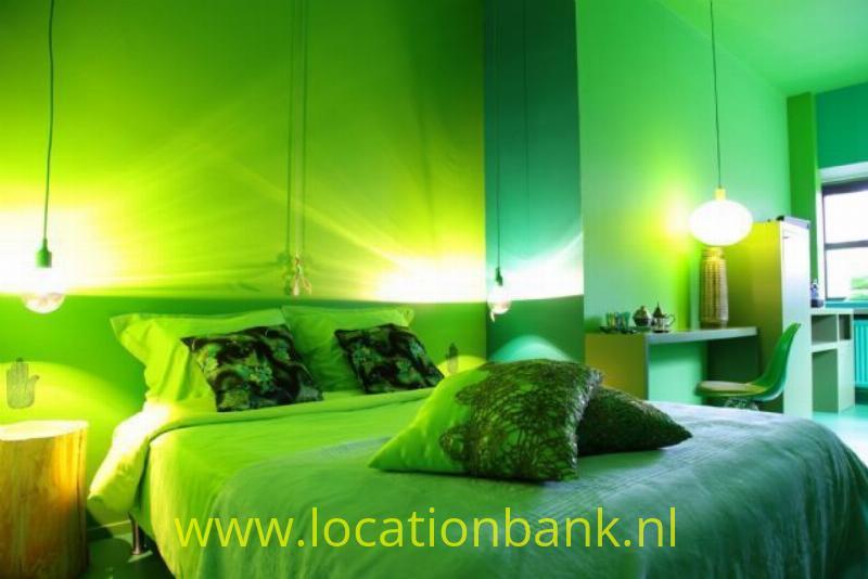 Groene hotel kamer