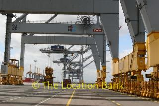 Harbour oder container terminal mit cranes